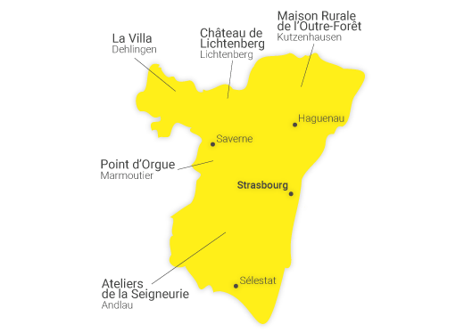 Carte du réseau des CIP du Bas-Rhin, comptant cinq structures qui traitent du patrimoine Alsacien