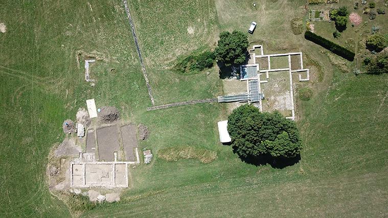 Vue aérienne du site archéologique du Gurtelbach à Dehlingen